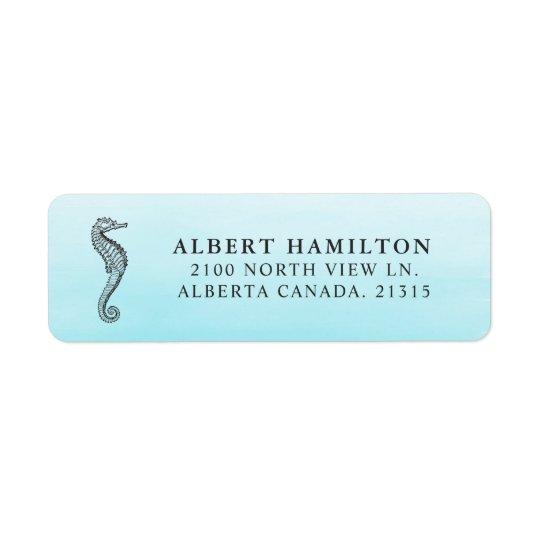 Etiqueta Remite personalizado el   azul del Seahorse del