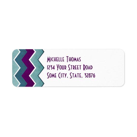 Etiqueta Remite púrpura y verde azulado del modelo de