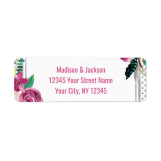 Etiqueta Remite rosado elegante de la bodas de plata floral