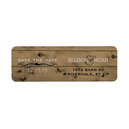 Etiqueta Reserva del personalizado el boda de madera del