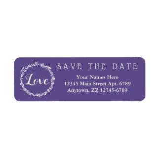 Etiqueta Reserva ultravioleta de la púrpura del boda la