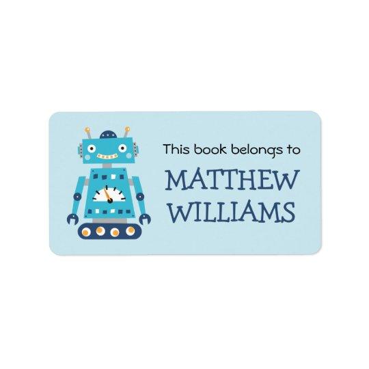Etiqueta retra del libro del bookplate del robot