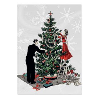 Etiqueta retra del regalo del árbol de navidad tarjetas de visita grandes