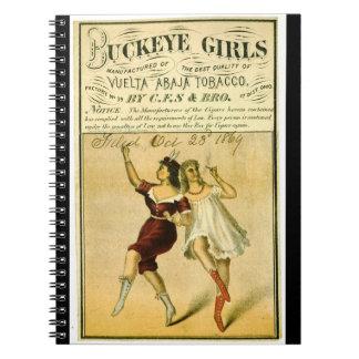 Etiqueta retra del tabaco f 1869 cuaderno