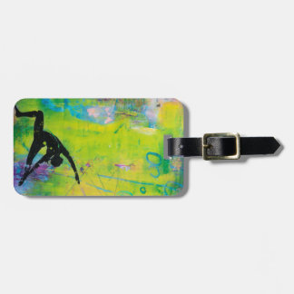 Etiqueta reversa del equipaje del chica de la yoga