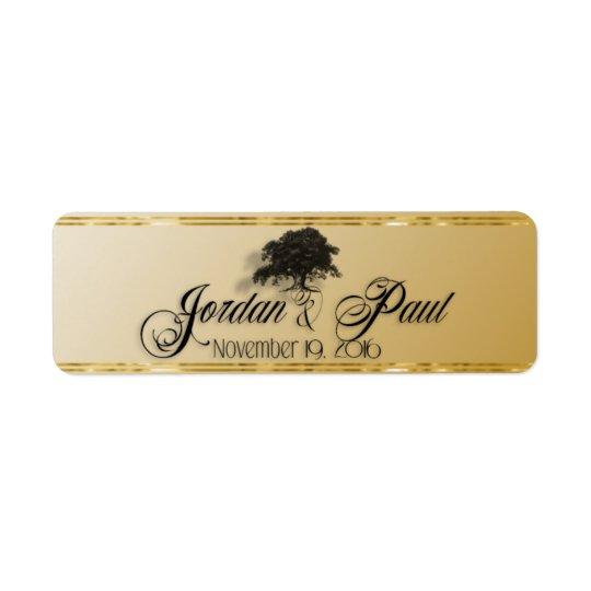 Etiqueta Roble gigante en banda de cigarro del oro