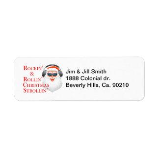 Etiqueta Rockin Papá Noel fresco con los auriculares