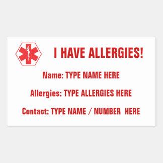 Etiqueta roja alerta del pegatina de la alergia
