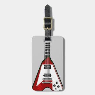 Etiqueta roja/blanca de la guitarra del vector del