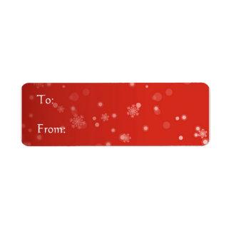 Etiqueta roja - copos de nieve etiqueta de remitente