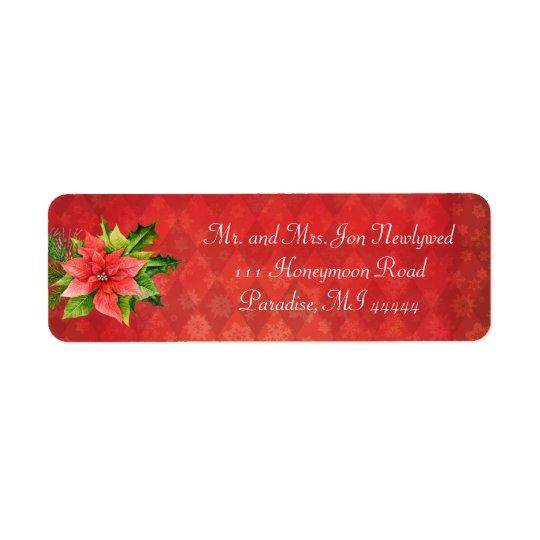 Etiqueta roja de Addredd del navidad del