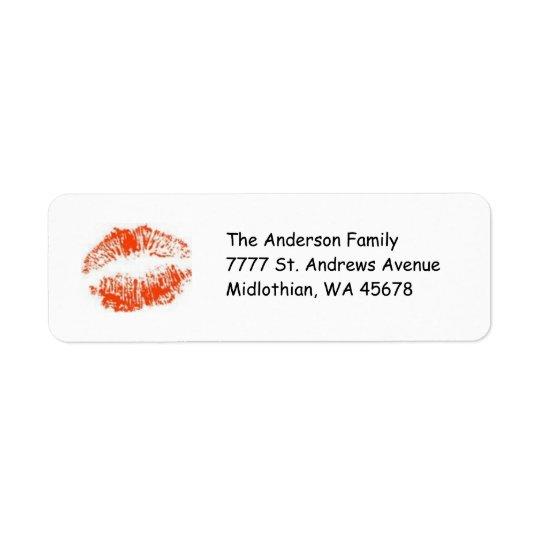 Etiqueta roja de Avery del remite de los labios