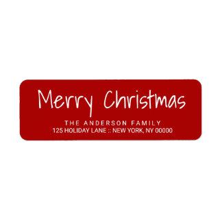 Etiqueta roja de las letras impresas a mano lindas etiqueta de remite