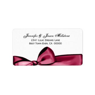 Etiqueta roja de rubíes romántica del boda del