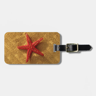 etiqueta roja del equipaje de las estrellas de mar