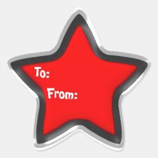 Etiqueta roja del regalo de la estrella