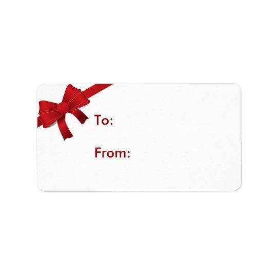 Etiqueta roja del regalo del navidad del arco etiquetas de dirección