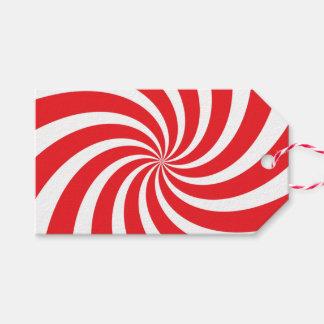 Etiqueta roja del regalo del remolino del bastón etiquetas para regalos