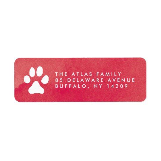 Etiqueta roja del remite de la acuarela de etiqueta de remite