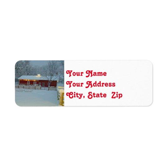 Etiqueta roja del remite del navidad de la granja etiqueta de remitente