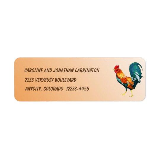 Etiqueta roja del remite del pájaro del gallo del etiqueta de remitente