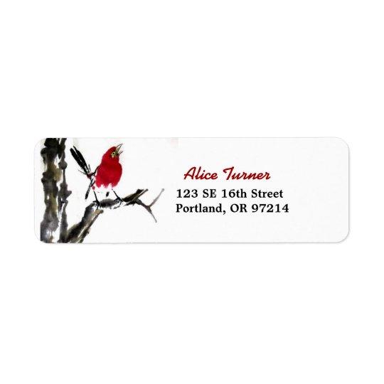 Etiqueta roja del remite del pájaro etiqueta de remitente