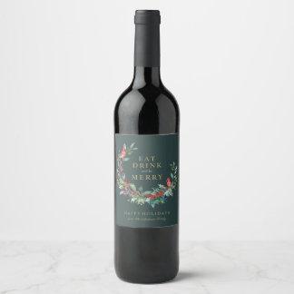 Etiqueta roja del vino de la guirnalda del día de