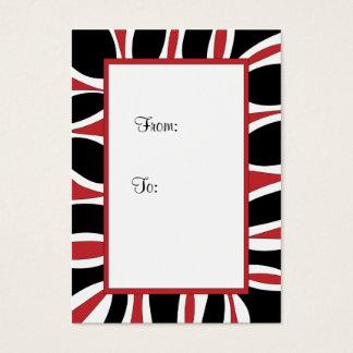 Etiqueta roja, marco blanco y negro del regalo