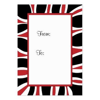 Etiqueta roja, marco blanco y negro del regalo tarjetas de visita grandes