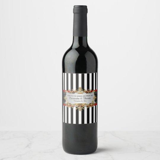 Etiqueta roja negra de la botella de vino de la