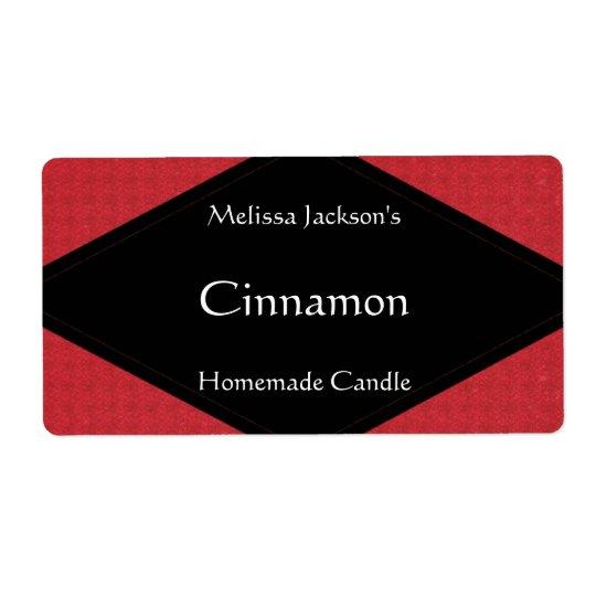 Etiqueta roja reluciente del jabón o de la vela