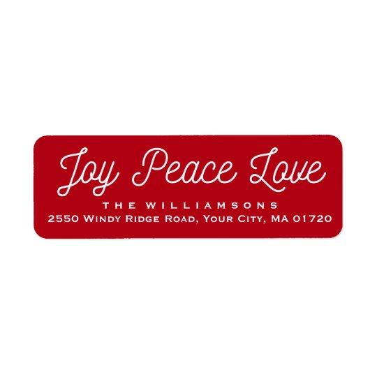 Etiqueta Rojo de encargo del amor de la paz de la alegría