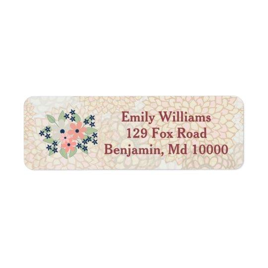 Etiqueta Rosa y ramo floral azulverde