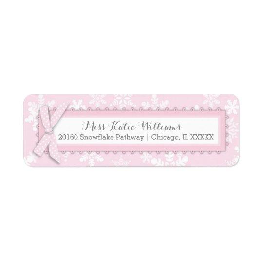 Etiqueta rosada de la niña del arco del lunar del etiqueta de remitente