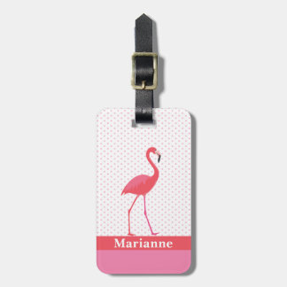 Etiqueta rosada del equipaje del flamenco
