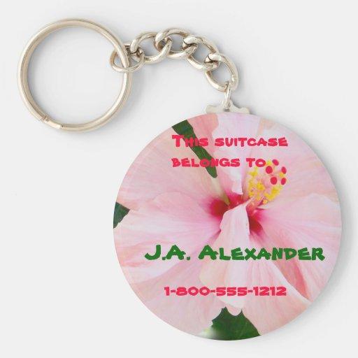 Etiqueta rosada del equipaje del hibisco llaveros