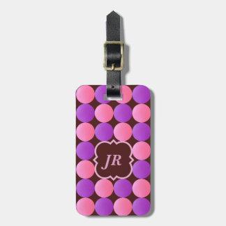 Etiqueta rosada del equipaje del monograma de etiqueta para maletas