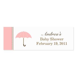 Etiqueta rosada del paraguas pequeña tarjeta de negocio