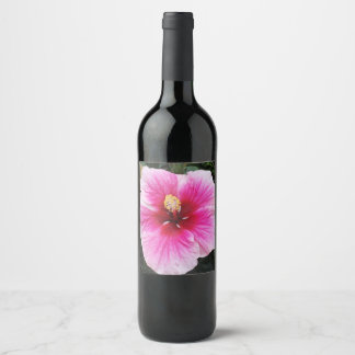 etiqueta rosada del vino de la flor