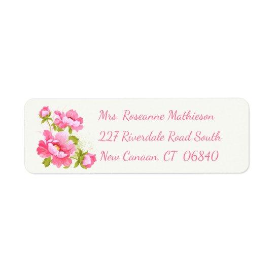 Etiqueta rosada floral del remite de la flor del etiqueta de remitente