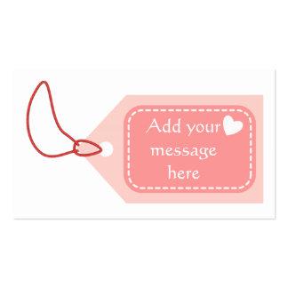 Etiqueta rosada tarjetas de visita