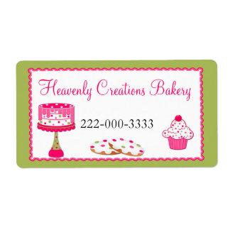 Etiqueta rosada y verde de encargo de la panadería etiqueta de envío