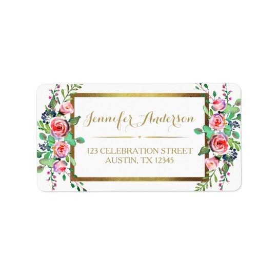 Etiqueta Rosas florales hermosos elegantes blancos del oro