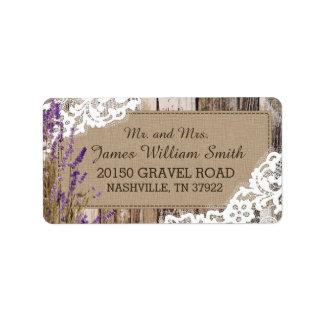 Etiqueta rústica de madera de la lavanda y del etiquetas de dirección