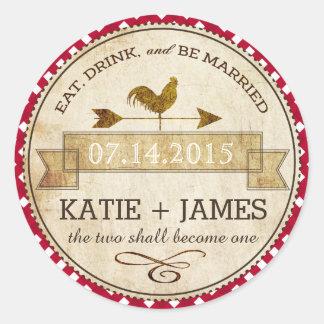 Etiqueta rústica del boda del control de la guinga