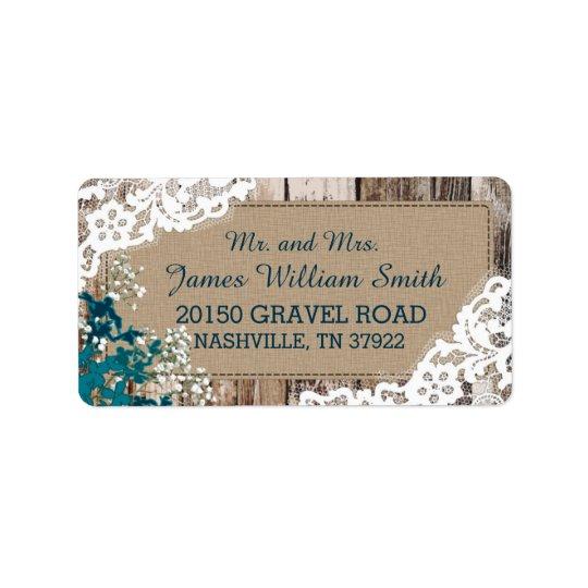Etiqueta rústica del boda del cordón de la etiquetas de dirección