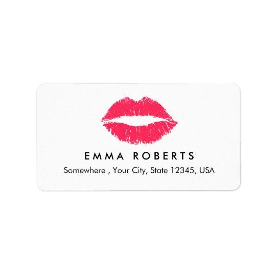 Etiqueta Salón de belleza elegante de los labios rojos del
