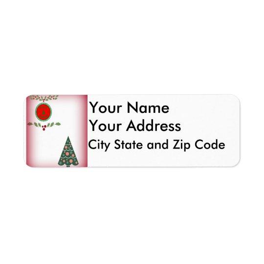 Etiqueta Saludos de las estaciones con acebo y un árbol de