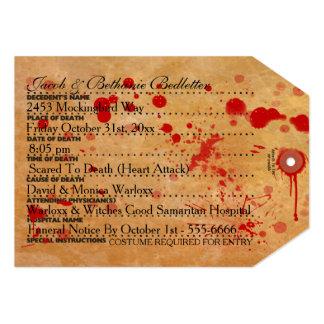 Etiqueta sangrienta del dedo del pie de Halloween Invitación 12,7 X 17,8 Cm