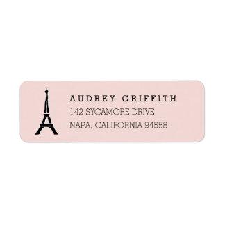 Etiqueta Se ruboriza el remite de la torre Eiffel rosada